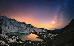 Milky Way Over The Mountains Royalty Free Stock Images