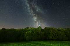 The Milky Way over the trees. Milky way galaxy. stock images