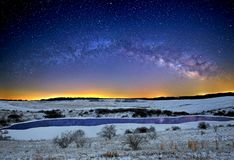 The Milky Way Over The Wilds in Winter Stock Image