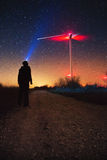 Milky Way over the wind turbine, Geminids Meteor Shower natural phenomenon stock photography
