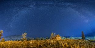 Milky Way Over The woodenhut Royalty Free Stock Photography