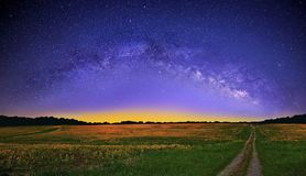 The Milky Way over a Yellow Mustard Field Royalty Free Stock Photos