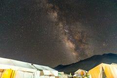 Milky way at Pangong Lake Camp Aug 2017. During winter Stock Images