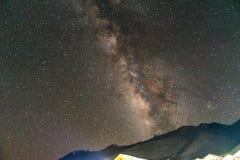 Milky way at Pangong Lake Camp Aug 2017. During winter Stock Photos