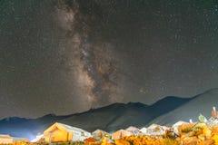 Milky way at Pangong Lake Camp Aug 2017. During winter Stock Photography