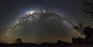 Milky way panorama Stock Images