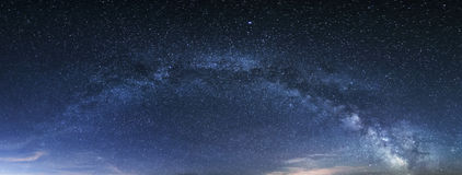 Milky way panorama, night sky with stars Royalty Free Stock Images