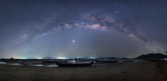 Milky Way Panorama. Over the sea Stock Images
