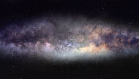 Milky Way panorama. Wide-field photo of majestic Milky Way galaxy Royalty Free Stock Photos