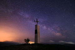 Milky Way and paroplane monument on the mountain in Crimea stock images