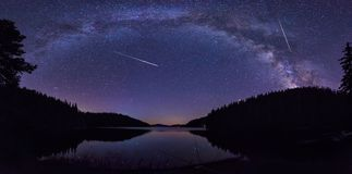 Milky Way and the Perseids Stock Photography