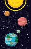 Milky way planets. Cartoons vector illustration graphic design Stock Image