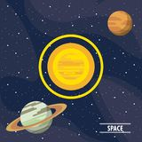 Milky way planets. Cartoons vector illustration graphic design Royalty Free Stock Images