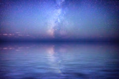 Milky Way Reflection. Milky Way reflected in the Mediterranean Sea stock photography