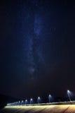 Milky Way rises over dam Royalty Free Stock Photos