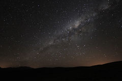 Milky way rising above the andean mountains, Argentina royalty free stock photography