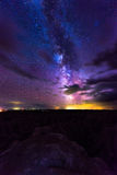 Milky Way Rising over Badlands National Park Stock Photo