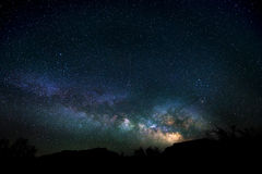Milky way rising over the canyon Utah Night Landscape Stock Photo