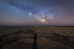 Milky Way rising over a jetty in New Jersey. Milky Way Galaxy rising over the Barnegat light jetty at Point Pleasant, New Jersey Royalty Free Stock Photo