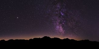 Milky Way Landscape in the Swiss Alps royalty free stock photography