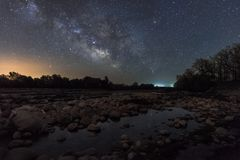 Milky way on the river royalty free stock images