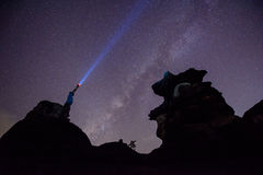 The milky way and the rock. royalty free stock photo