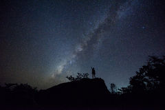 The milky way and the rock. Royalty Free Stock Image