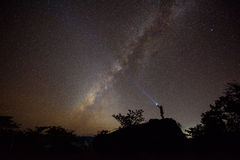 The milky way and the rock. Royalty Free Stock Photos