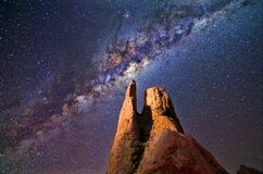 Milky Way, Rocks, Night, Landscape Royalty Free Stock Photos