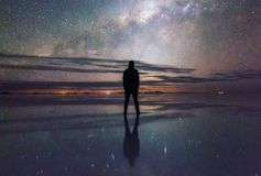The Milky Way in the SaltFlats in Bolivia royalty free stock image