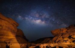 Milky way at Sam Pan Bok grand canyon, Ubon ratchathani, Thailan Stock Photography