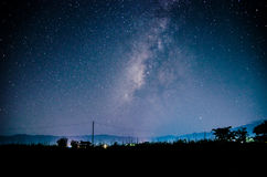 Milky way. A scene of milky way in the rice field Stock Image