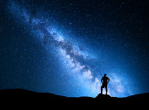 Milky Way and silhouette of a man. Night landscape Stock Images