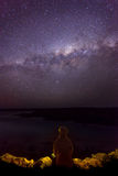 Milky Way. Sitting at the ocean and viewing the milky way Stock Photo