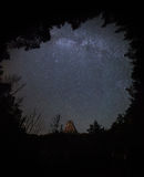 MILKY WAY SKY IN THE FOREST Stock Photography