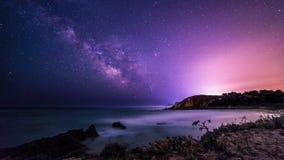 Milky way in the sky of Sardinia. A beautiful milky way in the sky of Sardinia in a day of summer Stock Photography