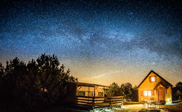 Milky way. Sominy village , Kaszuby, Poland is a place where no one goes - calm and peacefully Royalty Free Stock Photo