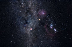 Milky Way star field. Deep space image containing constellations Orion, Monoceros, Gemini and many bright nebulae and star clusters Royalty Free Stock Image