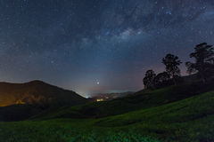 Milky way star and Tea plantation in Cameron highlands, Malaysia Stock Images