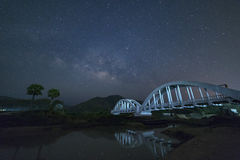 Milky Way and Starry night sky on the white Bridge landscape stock photos