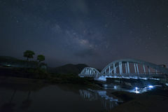 Milky Way and Starry night sky on the white Bridge landscape royalty free stock photography