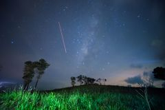Milky way and starry sky. Milky way galaxy during starry night sky. soft focus and noise due to long expose and high ISO stock photo
