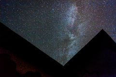 Milky way. And starry sky seen above house Royalty Free Stock Photos