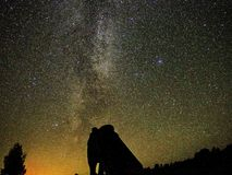 Milky way stars atronomer and big DOB telescope observing stock image