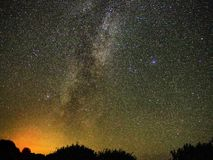 Milky way stars Cygnus and Lyra constellation observing stock image