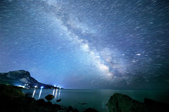 The Milky Way, the stars in the form of decaying traces. South C. Rimea. From Time Lapse Royalty Free Stock Images