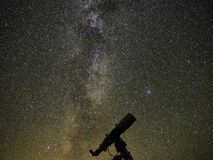 Milky way stars and Galaxies observing over telescope royalty free stock images