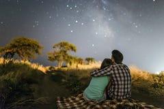 Milky Way stars. Love under stars of milky way Royalty Free Stock Photos