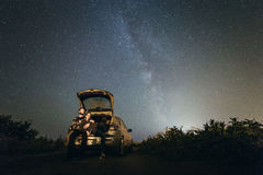 Milky way stars. Love under stars of milky way Royalty Free Stock Image