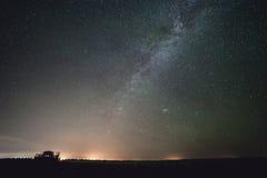 Milky Way stars. Milky Way over the car Stock Photos